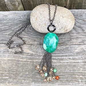 Long Adjustable Green Stone & Beads Chain Necklace